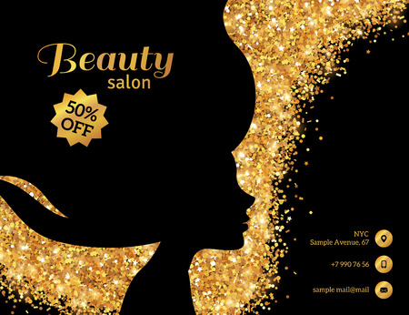 Ilustración de Black and Gold Flyer Template, Fashion Woman with Long Hair. Vector Illustration. - Imagen libre de derechos