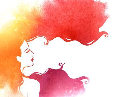 Illustration pour Pink Yellow Watercolor Fashion Woman with Long Hair. Vector Illustration. - image libre de droit