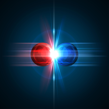 Ilustración de Frozen moment of two particles collision with red and blue light. Vector illustration. Explosion  concept. Abstract molecules impact on black background. Atomic Power. Nuclear reactions concept. - Imagen libre de derechos