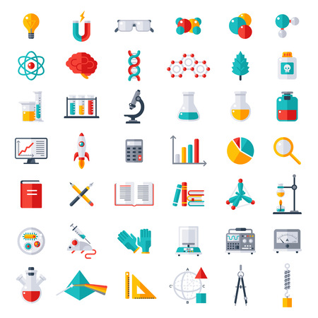 Ilustración de Physics, Chemistry and Biology, laboratory and science equipment Icons Set. Flat design vector illustration. Latex Gloves. Molecules, Data Analysis. Scientific Research. Chemical Experiment. - Imagen libre de derechos