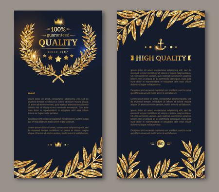 Illustration for Flyer design layout template. Vector illustration. Business brochure design with golden laurel wreath and gold confetti on dark background. Glittering premium vip design. Golden Olive branches Decor - Royalty Free Image