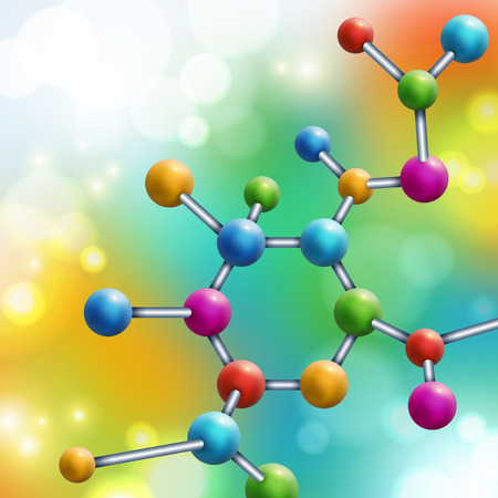 Illustration pour Abstract multicolor molecule on colorful rainbow background. Vector illustration. Atoms. Medical background for banner or flyer. Molecular structure with spherical particles. Flare lights, bokeh. - image libre de droit