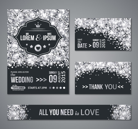 Illustration for Set of wedding invitation cards design. Silver confetti and black background. Vector illustration. Save the date. Retro figured label. Typographic template for your text.  Glittering dust. - Royalty Free Image