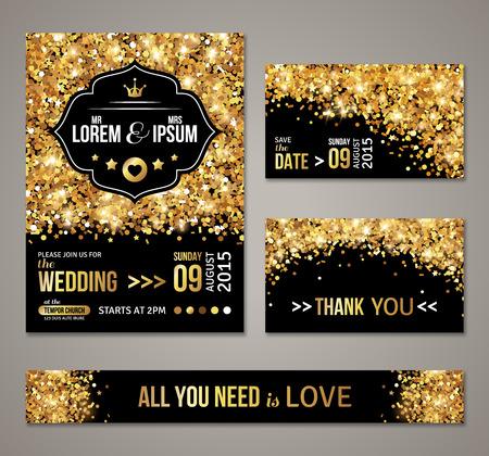 Foto de Set of wedding invitation cards design. - Imagen libre de derechos