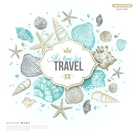 Illustration pour Vintage Summer Sea Shells Banner Design. Vector Background with Seashells, Seastar and Sand. Hand Drawn Etching Style. Place for Your Text. Travel Emblem Template with Crown. - image libre de droit