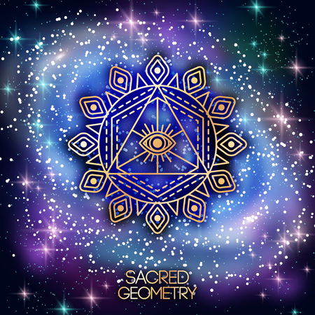 Ilustración de Sacred Geometry Emblem with Eye in Triangle on Shining Galaxy Space Background. Vector illustration. - Imagen libre de derechos