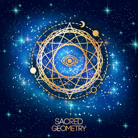 Illustration pour Sacred Geometry Emblem with Eye in Star on Shining Galaxy Space Background. Vector illustration. - image libre de droit