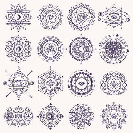 Ilustración de Set of Sacred Geometry Forms with Eye, Moon and Sun Isolated on White. Vector illustration. - Imagen libre de derechos