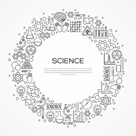 Illustration pour Circle Frame with Scientific Line Icons Isolated on White. illustration. Chemistry Background, Science Lab Research - image libre de droit