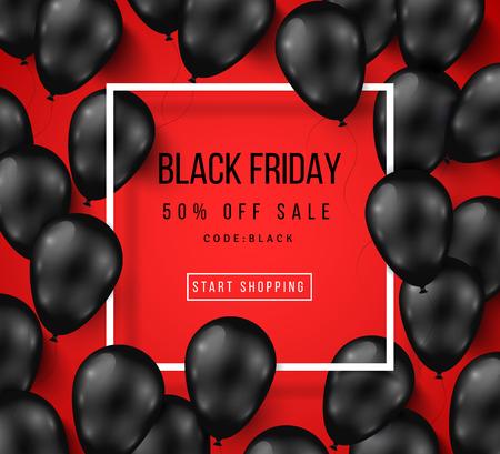 Ilustración de Black Friday Sale Poster with Shiny Balloons on Red Background with Square Frame. illustration. - Imagen libre de derechos