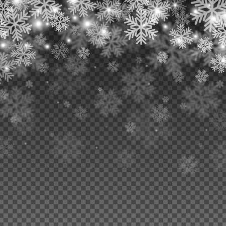 Illustration pour Abstract Snowflakes Overlay Effect on Transparent Background for Christmas and New Year Design. Vector Illustration. - image libre de droit