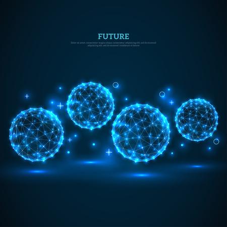 Illustration pour Abstract glowing particles on dark blue background - image libre de droit
