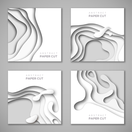 Illustration pour Set of square banners with white paper cut shapes - image libre de droit