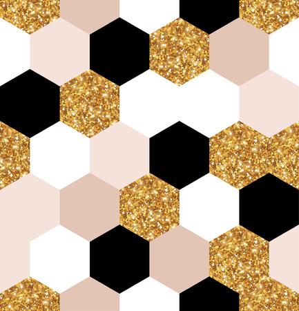 Illustrazione per gold, black and white hexagon texture - Immagini Royalty Free