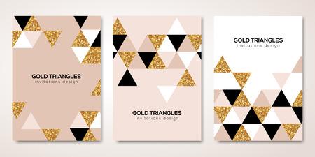 Ilustración de Banners set with gold decoration. - Imagen libre de derechos