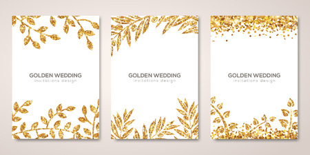 Ilustración de Banners set with gold floral patterns on white. - Imagen libre de derechos