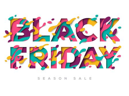Illustration pour Black Friday Sale Poster with paper cut shapes - image libre de droit