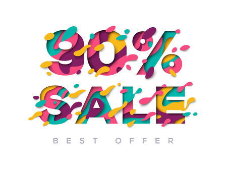 Illustration for Paper cut sale 90 percent off - Royalty Free Image