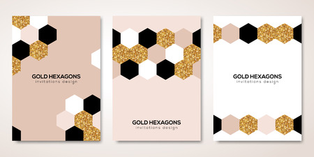 Ilustración de Banners set with gold hexagons decor - Imagen libre de derechos