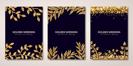Illustration for Banners set with gold floral patterns on black - Royalty Free Image