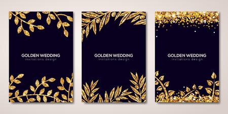 Illustration pour Banners set with gold floral patterns on black - image libre de droit