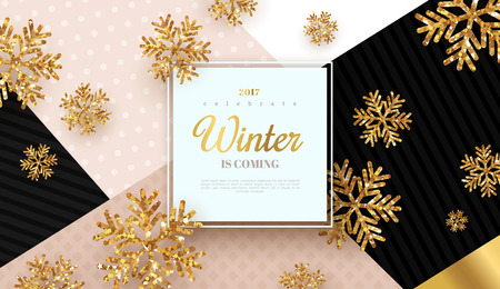 Illustration pour Christmas design gold snowflakes - image libre de droit