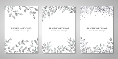Illustration for Banners set with silver floral patterns - Royalty Free Image