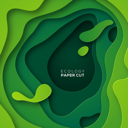 Photo pour Abstract background with green paper cut shapes vector illustration. - image libre de droit
