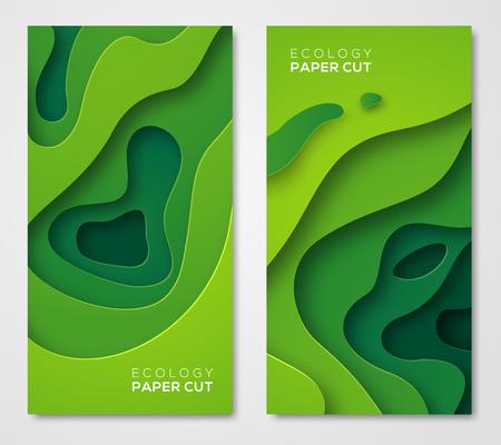 Ilustración de Vertical banners set, green paper cut shapes - Imagen libre de derechos
