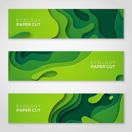 Illustration pour Horizontal banners set, green paper cut shapes. - image libre de droit