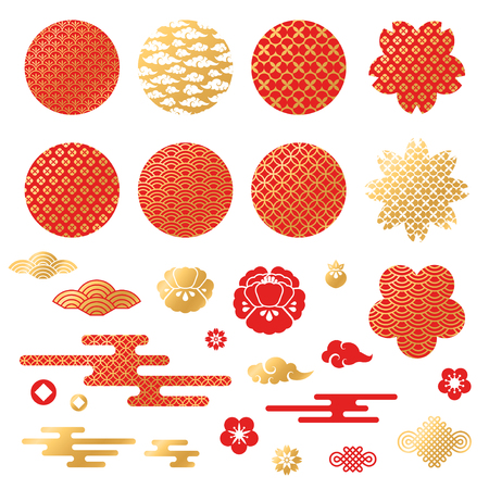 Illustration for Chinese and japanese decorative icons, clouds, flowers - Royalty Free Image
