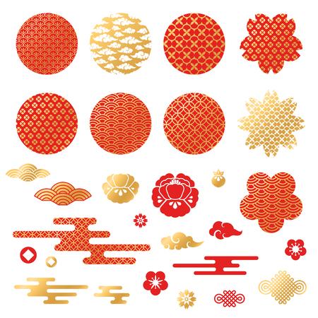 Ilustración de Chinese and japanese decorative icons, clouds, flowers - Imagen libre de derechos