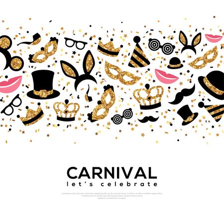 Illustration pour Carnival Concept Banner with Gold and Black Icons. - image libre de droit
