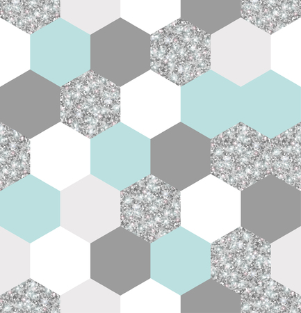 Illustration pour Silver, mint and white hexagon grid texture. - image libre de droit