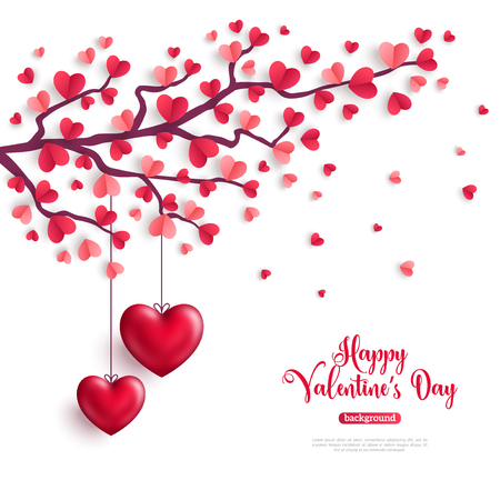 Illustration for Happy Saint Valentines Day concept. Valentine tree with paper heart shaped leaves and hanging hearts. Vector illustration. - Royalty Free Image