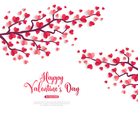 Illustration pour Happy Saint Valentines Day concept. Valentine trees branch with paper heart shaped leaves. Vector illustration. - image libre de droit