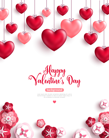 Illustration for Happy saint valentine's day background with decoration hearts and paper cut rose flowers. Vector illustration. - Royalty Free Image