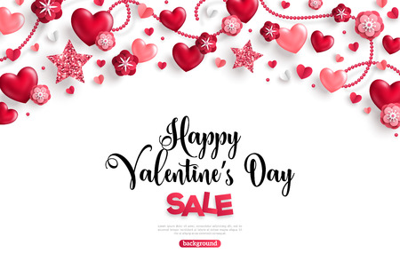Illustration pour valentines day sale horizontal border on white - image libre de droit