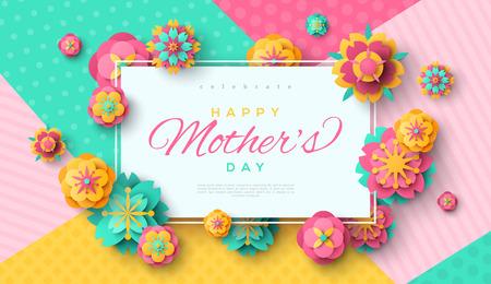 Ilustración de Mother's day card with square frame. - Imagen libre de derechos