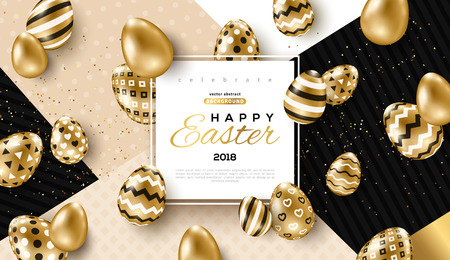 Illustration pour Easter card with square frame, gold ornate eggs and confetti on colorful modern geometric background. Vector illustration. Place for your text. - image libre de droit