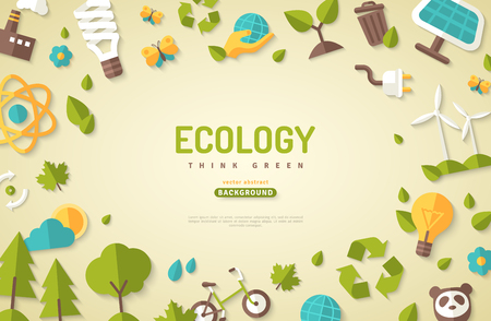 Ilustración de Environmental protection banner with nature elements and other related icons. - Imagen libre de derechos