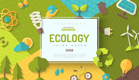 Ilustración de Environmental protection, ecology concept horizontal banner in flat style with square frame on colorful modern geometric background. Vector illustration for web banners and promotional materials. - Imagen libre de derechos