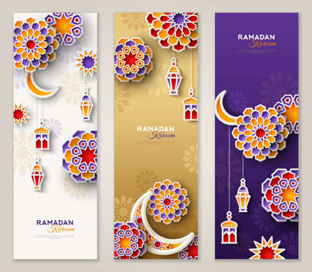 Illustration for Ramadan Kareem vertical banners with 3d arabesque stars and flowers. Vector Illustration for greeting card, poster and voucher. Islamic crescent moon with hanging traditional lanterns - Royalty Free Image