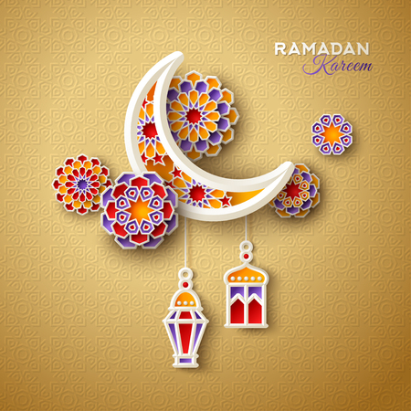 Illustration for Islamic crescent moon with hanging traditional lanterns on ornamental gold background. Vector illustration. - Royalty Free Image