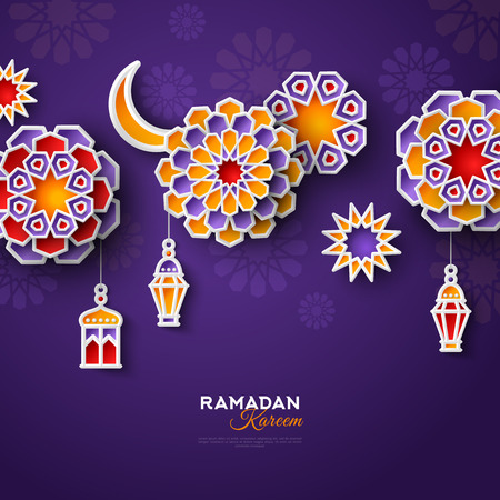 Illustration for Ramadan Kareem concept banner with islamic geometric patterns. Paper cut flowers, traditional lanterns, moon and stars on dark violet background. Vector illustration. - Royalty Free Image