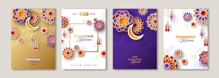 Illustration for Ramadan Kareem posters set - Royalty Free Image