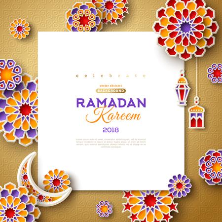 Illustration for Ramadan Kareem square frame - Royalty Free Image