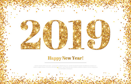 Illustration pour Happy New Year 2019 Greeting Card - image libre de droit