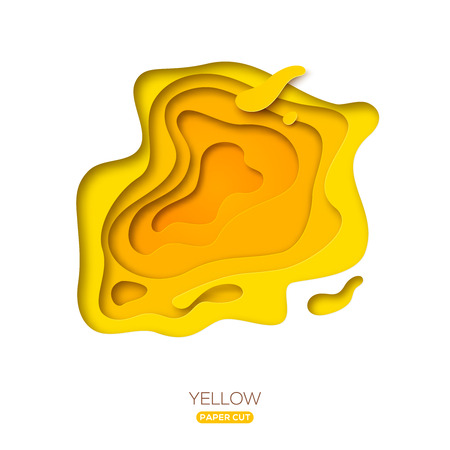 Ilustración de Yellow paper cut shape isolated on a white background - Imagen libre de derechos