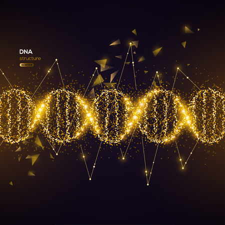 Illustration pour Gold DNA Helix on Black Background with Glittering Particles. Vector illustration. Science and Medical Research Concept Banner with Molecular Structure and Broken Strands - image libre de droit